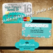 Bling Turquoise Sweet 16 - Credit Card