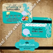 Sea Beach Quinceanera Invitations Credit Card