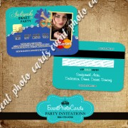 Teal Blue Party Card Sweet 16