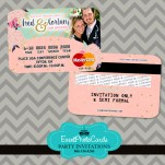 Coral Mint Floral  Wedding Invitations - Credit Card