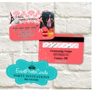 Paris Credit Card Photo Invitations - Coral Edition