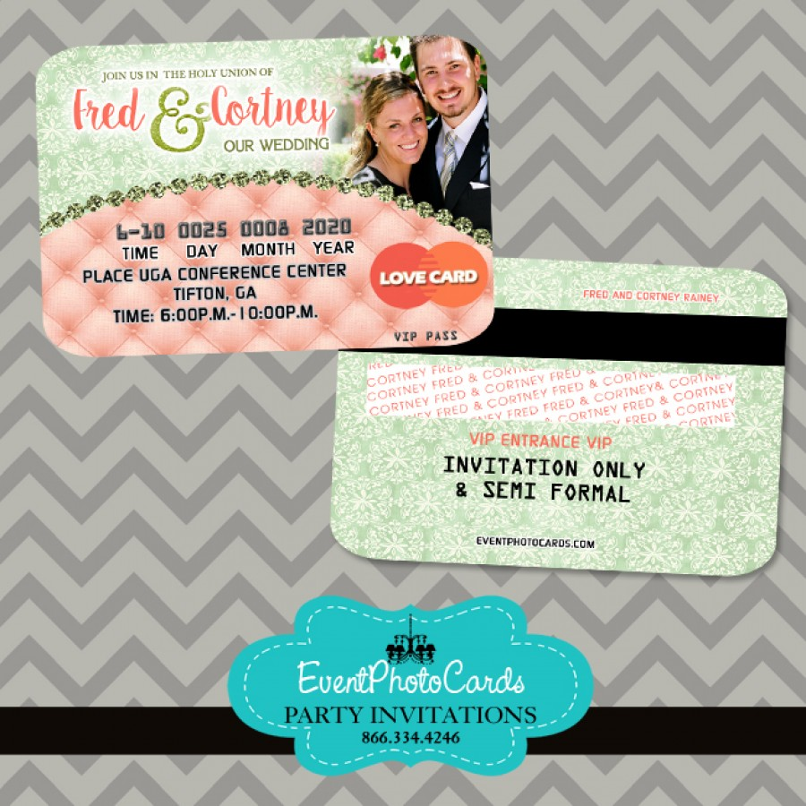 Coral Mint Couture Wedding Invitations - Credit Card Invites , Looks like a  Credit Card Style