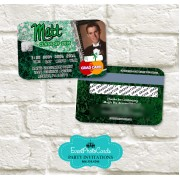 College Party Invitations - Green Grunge Damask