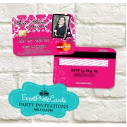 Paris Credit Card Photo Invitations - Pink Quinceanera Edition