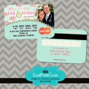 Light Blue Shabby Wedding Invitation Credit Card