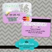 Lilac & Mint Sweet 16 Invitations - Credit Card