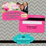 Pink Floral Wedding Announcements  Credit Card