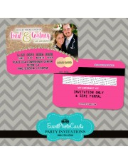 Pink Kraft Paper Wedding Announcements  Credit Card