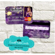 Purple Gold Stars Sweet 16 Invitations Credit Card