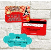 Paris Credit Card  - Red & Gold Quinceanera Invitations