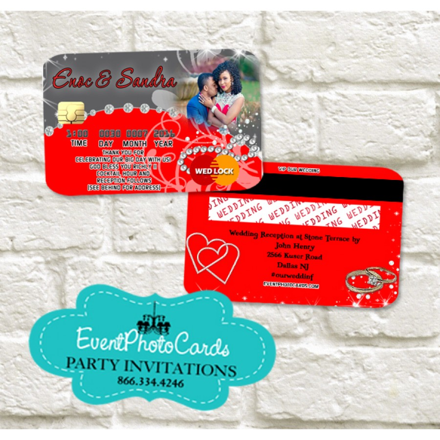 Wedding - Credit Card Red & Gray Invitations , Invitaciones de Boda