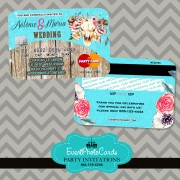 Rustic Country Aqua Wedding Credit Card