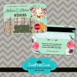 Rustic Country MInt Green Wedding Credit Card