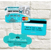 Turquoise Silver  Butterfly Sweet 16 Invitations - Credit Card