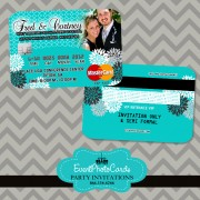 Turquoise Wedding Invitations - Credit Card