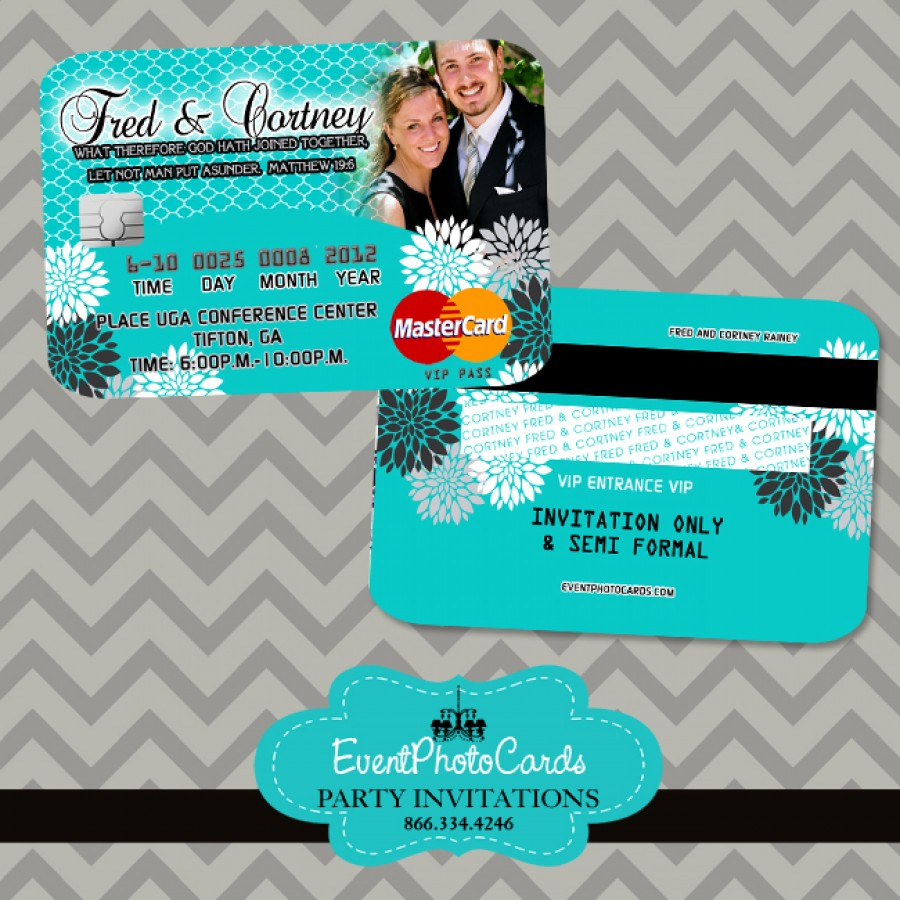 Turquoise Wedding Invitations - Credit Card Invites, Elegant ...