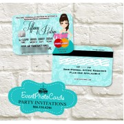 Princess Turquoise Invitations - Credit Card with Holder