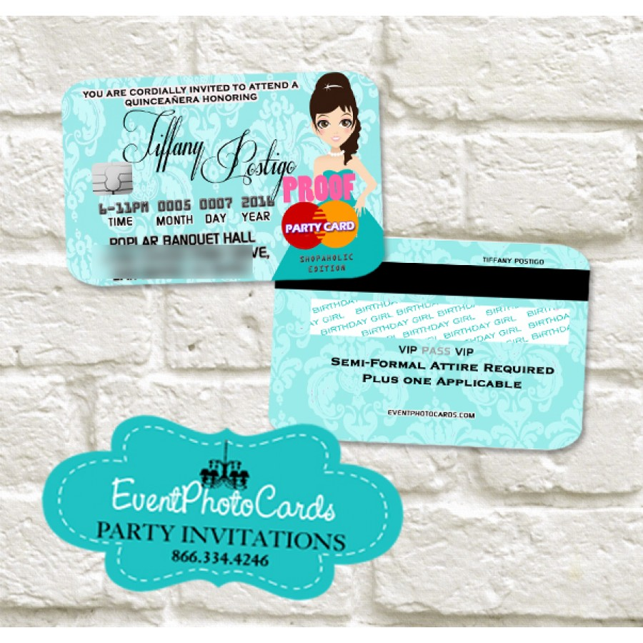 Newest quinceanera invitations princess turquoise invitations princess turquoise invitations credit card with holder stopboris Choice Image