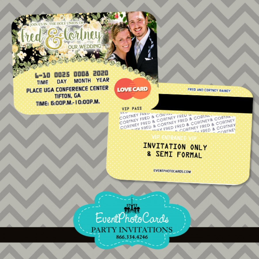 yellow and black wedding floral invitations credit card On wedding credit card