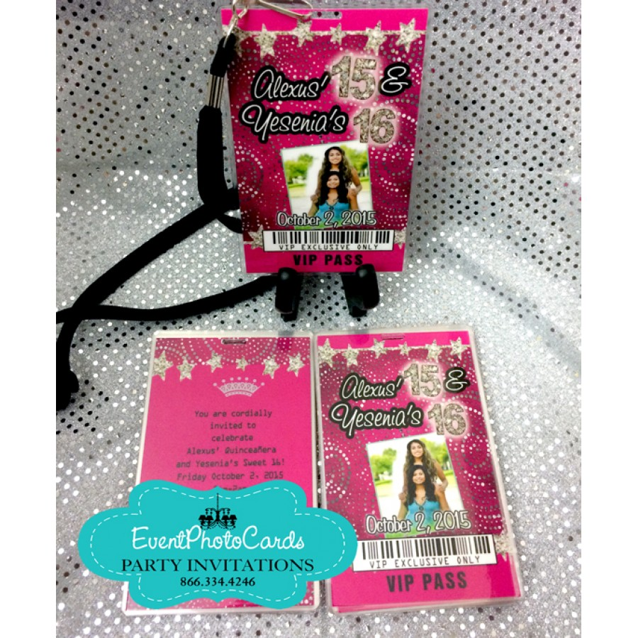 Glitter Pink Sweet 16 Backstage Vip Pass Invitations with ...