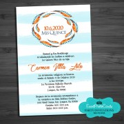 Baby Blue BOHO Feather   Watercolor  Invites - Quinceanera