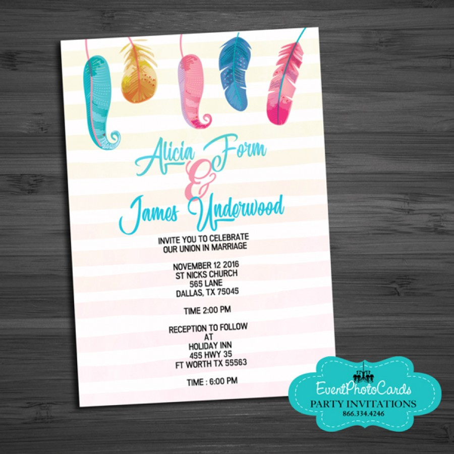 Rainbow Feather Wedding Invitations , Wedding Announcements