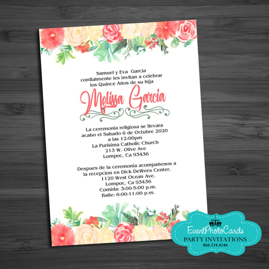 Coral Green Watercolor Mis XV Anos Birthday Invitations ...