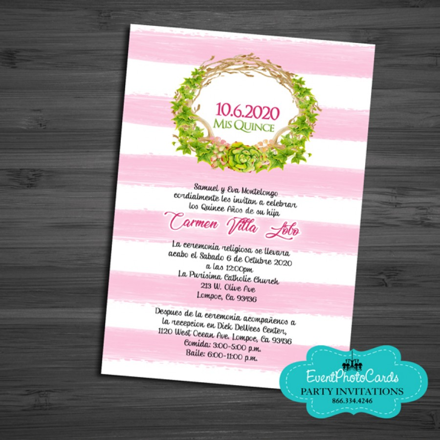 Coral Invitations Made For Sweet 15 Quinceanera Sweet 16