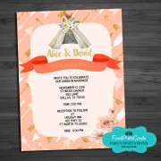 Coral Teepee Feather Wedding Invitations