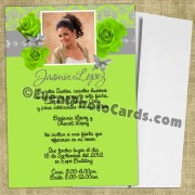 Roses Butterfly Invitation Quinceanera - Lime Green Silver