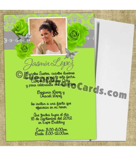 Lime Green Silver Roses Butterfly Invitation Quince