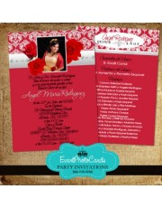 Quinceanera Invitations with Red Silver