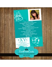 Floral XV Anos Teal Green Quinceanera Invitations