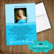 Aqua Sweet 16 Photo Invitations