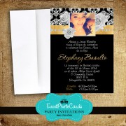 Silver & Black  Roses Quinceanera Invitations