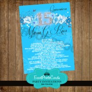Turquoise Floral Sweet 15 Invitations