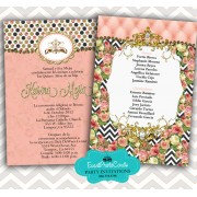 Coral Gold Quinceanera Invitations - Fashion