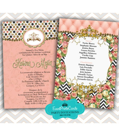 Coral Gold Quinceanera Invitations - Fashion, 15th Birthday Invites for Teen Party