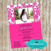 Floral Pink Quinceanera Photo Invites