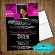 Roses Black Fuschia Quinceanera Invitations