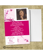Floral Pink Quinceanera Announcements