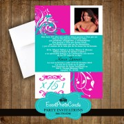 Hot Pink & Teal Green Quinceanera Invitations