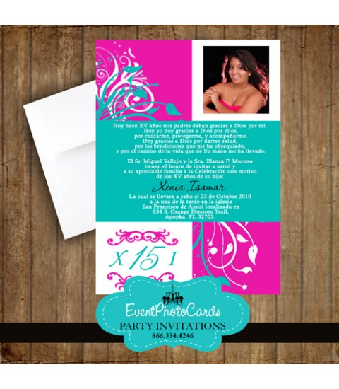 Floral XV Anos Hot Pink & Teal Green Quinceanera Invitations