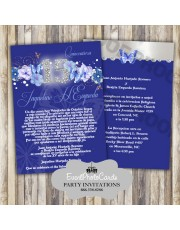 Quinceanera Invites Royal Blue Floral