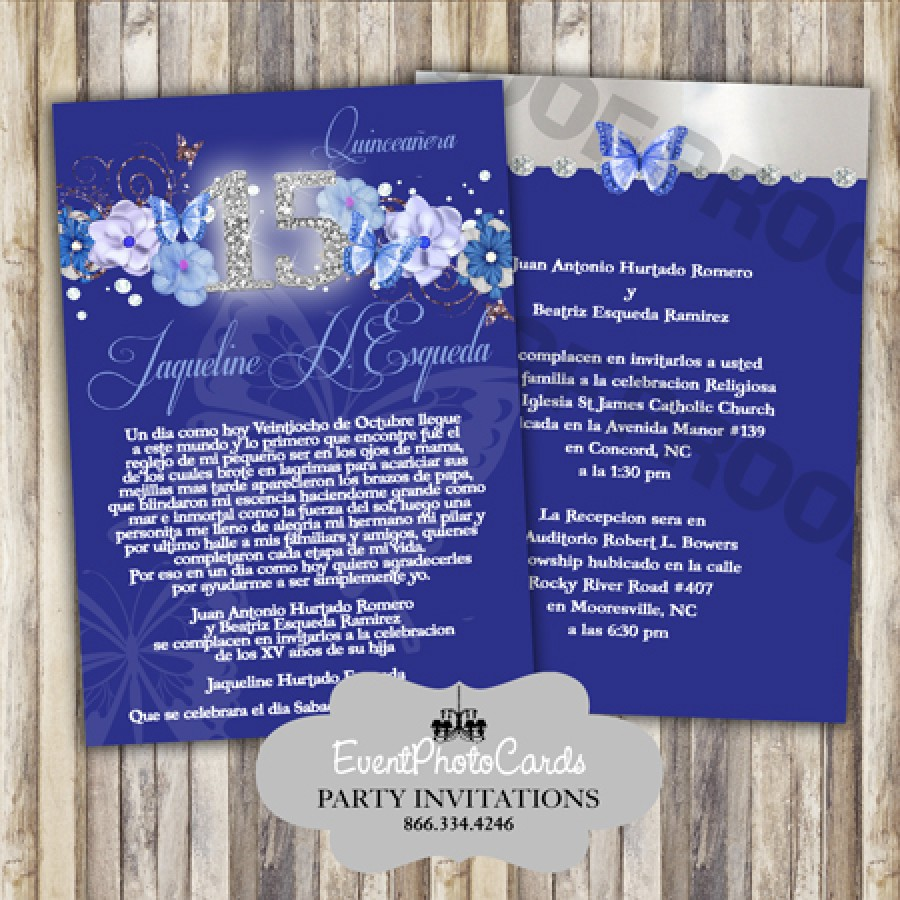 Navy Blue Floral Quinceanera Invites Royal Blue Dark Sweet 15th Invites