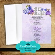 Vintage Quinceanera Floral Pastel Purple Invitations