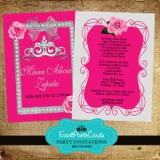 Pink Roses & Silver Quinceanera Invitations with Back Printing
