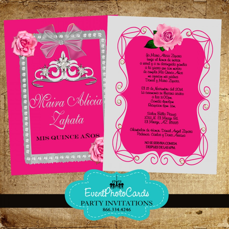 Pink Roses & Silver Quinceanera Invitations with Back ...
