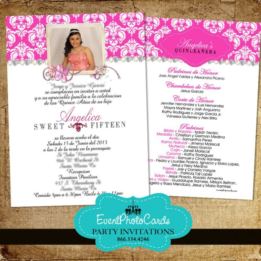 Pink Damask Quinceanera Invitations