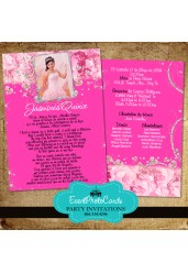 Roses Quinceanera Invitations - Pink Floral